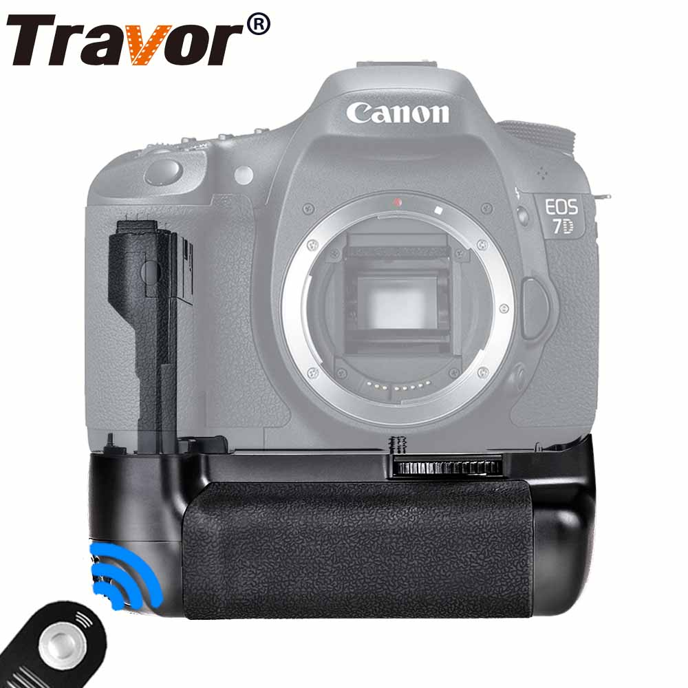 Travor Multi-Power Battery Grip For Canon 7D DSLR Cameras as BG-E7 work with LP-E6 +universal remote control as a gift