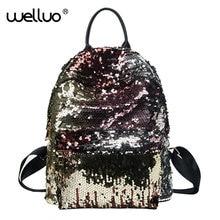 Wellvo блесток Дизайн Женщины Sacs à DOS подростков Meninas Bling Travel book школьная сумка блеск рюкзак золотой черный Lentejuelas Mujer XA230B