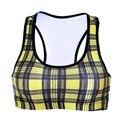 Women  Wire Free Bra Yellow Plaid Print TopTanks Push Up Brassiere Women's Underwear Seamless  Wide Back Bra Undies