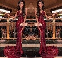 2019 Burgundy V Neck Sequins Mermaid Prom Dresses Sexy High Slits Vestido De Festa Sweep Train Formal Long Evening Party dress