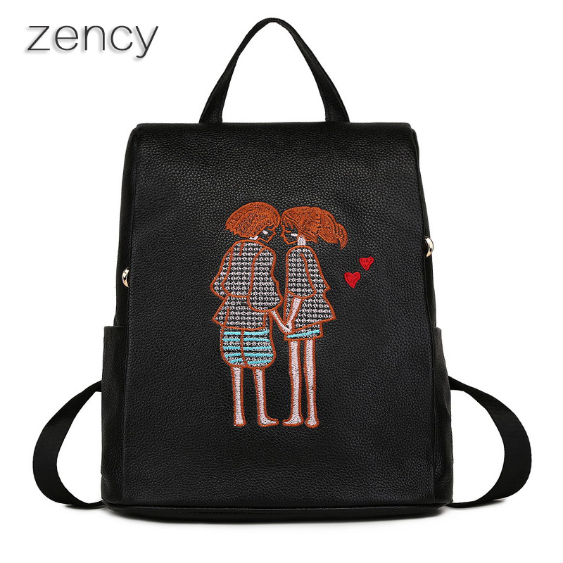 ZENCY Fashion Genuine Leather Women Backpacks Embroidery Pattern Ladies Girl ipad Backpack Top Layer Cowhide Mochila zency fashion leather backpack real natural genuine leather women backpacks ladies girl school bag top layer cowhide mochila