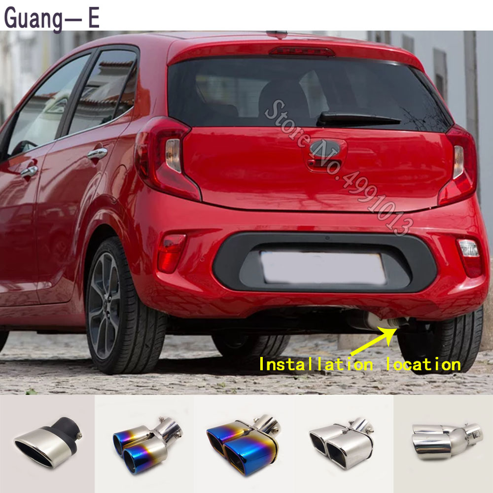 For Kia Picanto 2015-2018 Car Stickers Body Cover Muffler Exterior Back End Pipe Dedicate Exhaust Tip Tail Outlet Ornament 1pcs