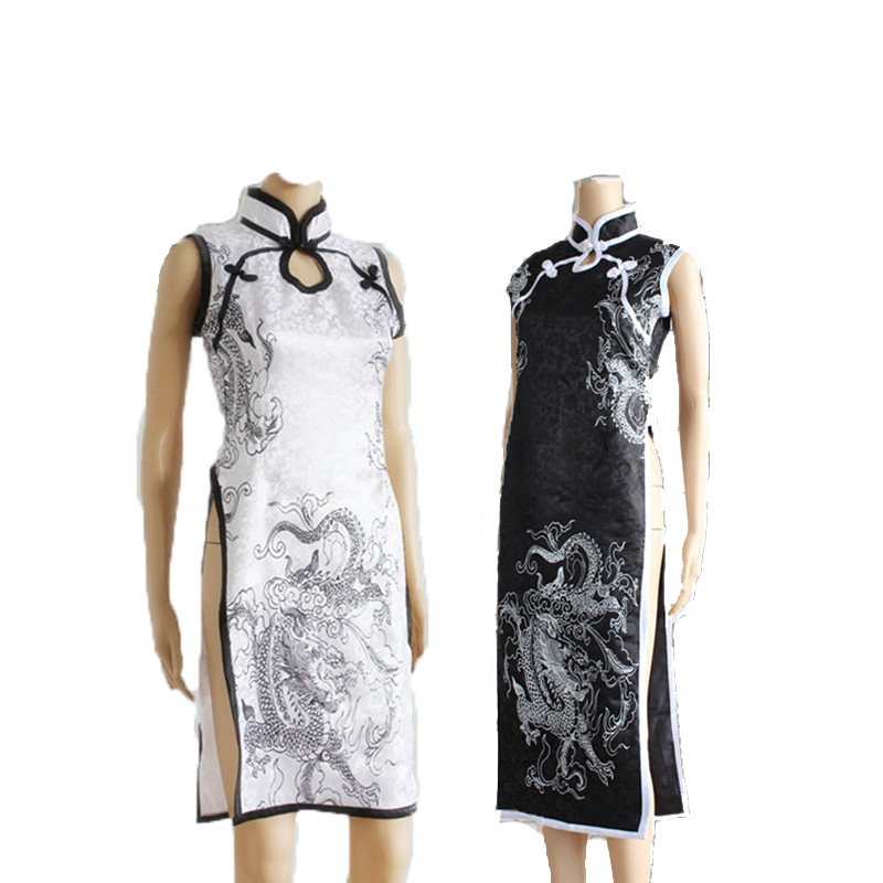 Anime In solitude, where we are least alone Kasugano Sora cosplay costumes cheongsam halloween for women dress black or sliver