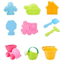 10 Pcs Beach Toys Portable Bucket Shovel Plastic Beach Toys Sand Play Set for Kids New(China)