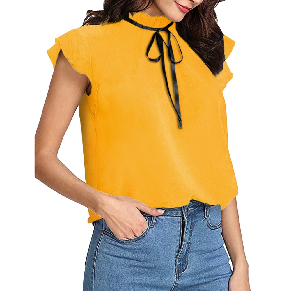 100% Quality 2019 Summer Fashion Casual Cap Long Sleeve Bow Tie Shirt Solid Chiffon Blouse Top Women O Neck Chiffon Shirts Camisa Renda Blusa