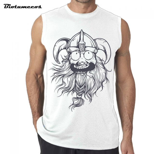 d3f0e07d3cb521 Men Tank Tops Fashion 100% Cotton Summer Sleeveless T-shirts Cute Viking  Man Wear Bull Helmet Printed Casual Vest MXQ053