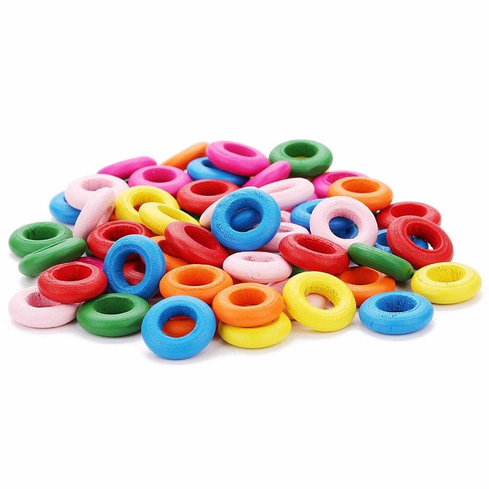 LOULEUR 100 pièces perles colorées rondes en bois trou bois perles entretoises en vrac pour Bracelet collier bijoux à bricoler soi-même Makings & résultats