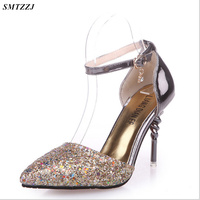 SMTZZJ Luxury high heels 2019 Women High Heel Metal Chain Pumps Lady Sexy Pointed Toe Wedding Strap Pumps Female Scarpins