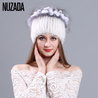 Brand NUZADA Hand Stitched Winter Autumn knitted Caps 100% Real Mink Fur Hat High Grade Women Lady Girl Skullies Beanies Cap