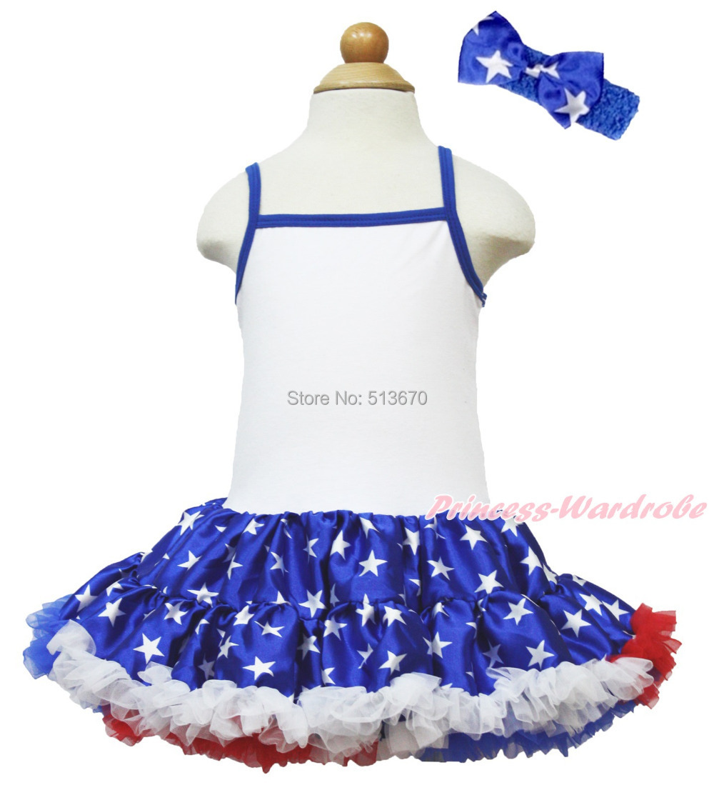 4th July America's Birthday Girl Blue White Halter Patriotic Star Dress 1-8Year MAHD040 4th july america flag style stripe pettiskirt white ruffle tank top 2pc set 1 8year mamg1143