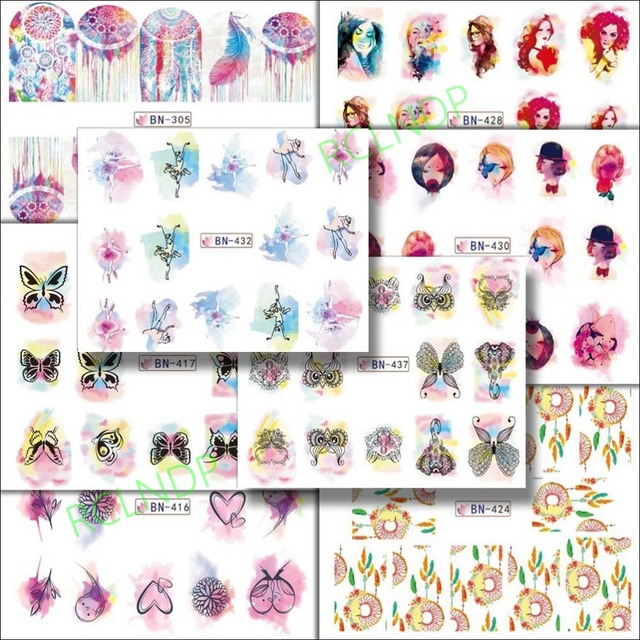 Water sticker for nail art decoration slider dreamcatcher ballet love heart owl girl nail design decal
