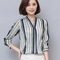 2017 Blouse Shirt Women's Clothing Plus Size V-neck Striped Blouse Women Shirt Cheap Clothes China Like Silk Blouse Fashion New