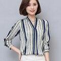 2017 clothing blusa camisa das mulheres plus size com decote em v listrado blusa mulheres camisa roupas baratas china como a seda blusa da moda nova