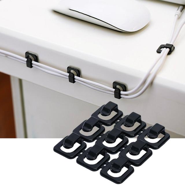 18Pcs Cable Organizer Wire Clip USB Home Office Storage Flexible Adhesive Sticker Clips Winder Fixer Clips Fastener Accessories