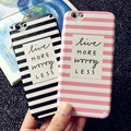 Para iphone 6 s 7 casos de doble capa caja del teléfono negro y rosado de la raya para iphone 6 plus 7 plus corazón ventana de la cámara soft tpu