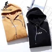 Pioneer Camp Solid Winter Thicken Fleece Hooded Hoodies Men Brand Clothing Warm Quality Sweatshirt For Men