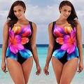 Plus Size Swimwear Female Floral One Piece Swimsuit Women Vintage Bathing Suit One-Piece Suit 2017 Large Size Swimsuits
