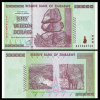 Zimbabwe 50 Trillion Dollars, 2008 AA Series, P 90, UNC, Collection, Gift, Africa, Genuine Original Paper Notes