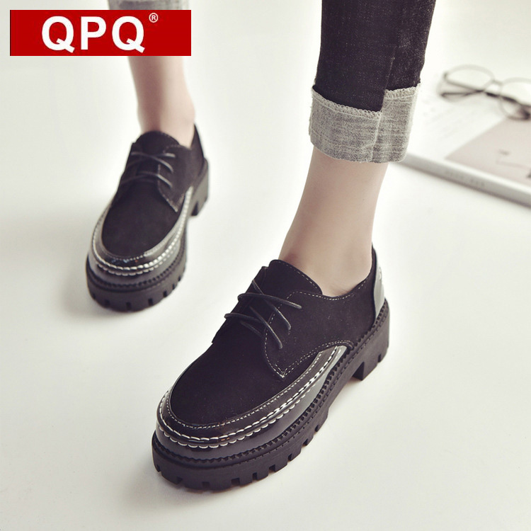QPQ Lace Up Round Toe Leisure Shoes Woman British Flat Heel Oxfords Women Leather Suede Stitching Full Black Flat Platform Shoes qmn women crystal embellished natural suede brogue shoes women square toe platform oxfords shoes woman genuine leather flats