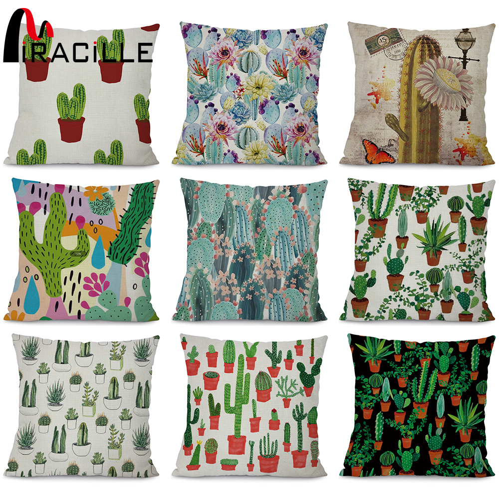 Miracille Square 18 Cotton Linen Cactus Cushion Cover Home Decorative Throw Pillow Case Cacti Sofa Cushion Case cojines Covers