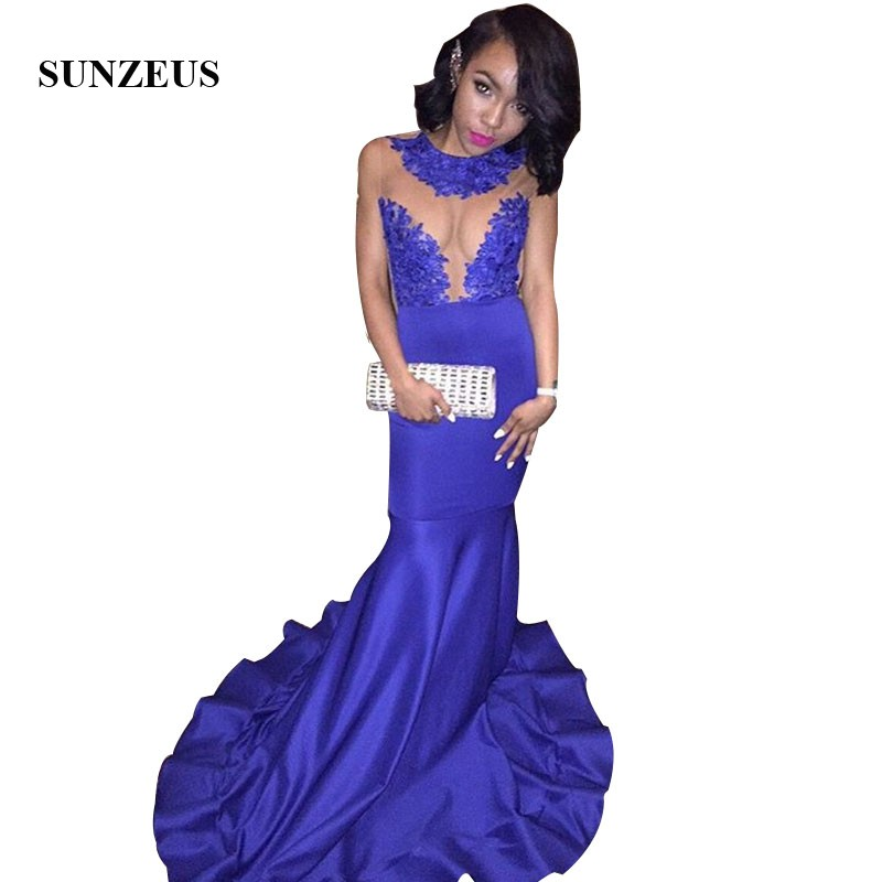 Royal Blue Mermaid   Prom     Dress   Sleeveless Tank Appliques Sheer Top Long Party Gowns vestido formatura longo de noite