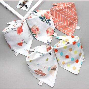 Baby Bibs Triangle Double Cotton Bibs 5 pieces/lot Cartoon Print Saliva Towel Baby Boys Girls Feeding Apron Cotton Bandana Bibs 3