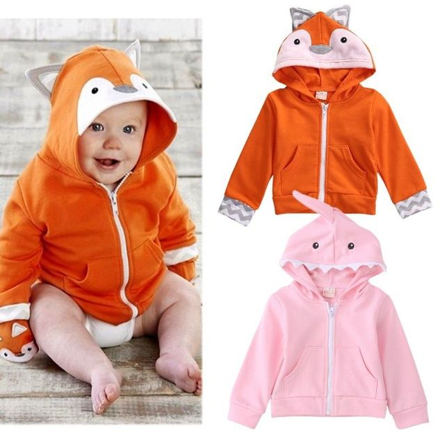 2016 Newborn Baby Boys Girls Cartoon Hooded Zipper Tops Coat Outerwear Casual Pink Shark Jacket Little Fox Coat Outwear H0012