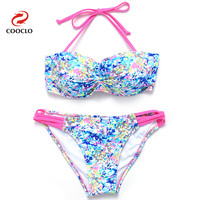 Hot Sale Sale Bikini Floral Print Women Swimwear Shivering Bandeau Top Multi Color Striped Bikini Set