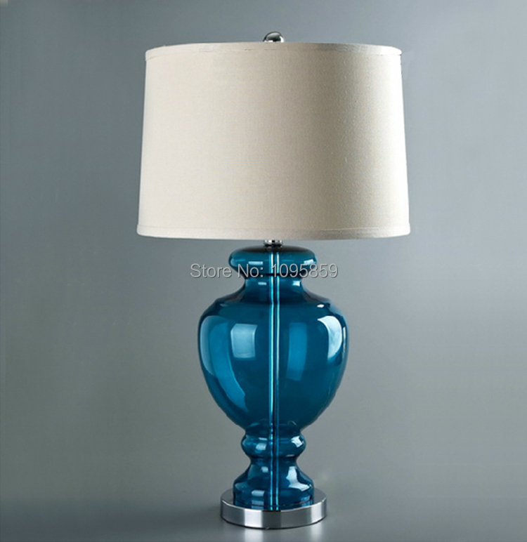 US $99.0  American Modern Glass Table Lamp Bedroom Bedside Lamp Minimalist  Mediterranean Blue Room Light-in Table Lamps from Lights & Lighting on ...