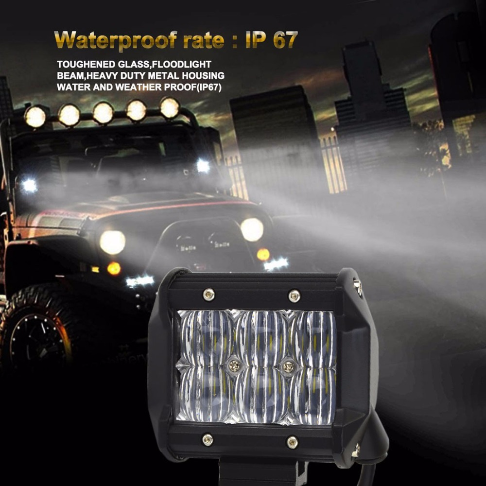 18W 5D Flood/Spot LED Work Light ATV Off Road Light Lamp Fog Driving Light Bar For 4x4 Offroad SUV Car Truck Trailer Tractor 12V