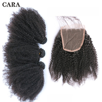 4B 4C Afro Kinky Curly Hair Extension 3 Human Hair Bundles With Closure Brazilian Virgin Hair Weave Bundles With Closure CARA