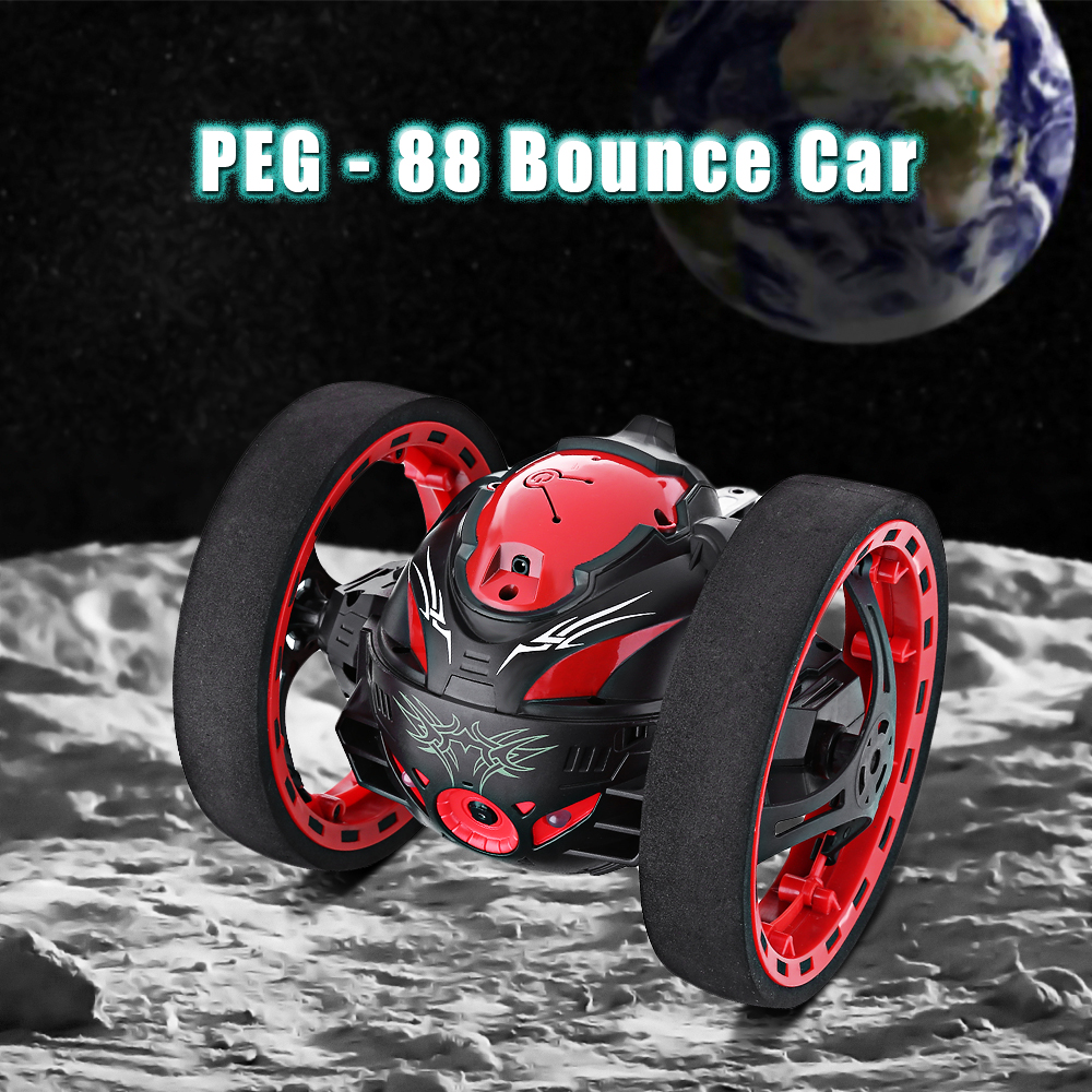 Flashing LED Light Bounce Car 2.4GHz Remote Control Bounce Cars Jumping Music Playing Car with Camera Video Function Kids Toys ...