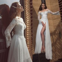 цена на 2015 Sexy Love Quality White Long Sleeves Wedding Bridal Dresses Lace off The Shoulder Chiffon Side Split Longos W3492