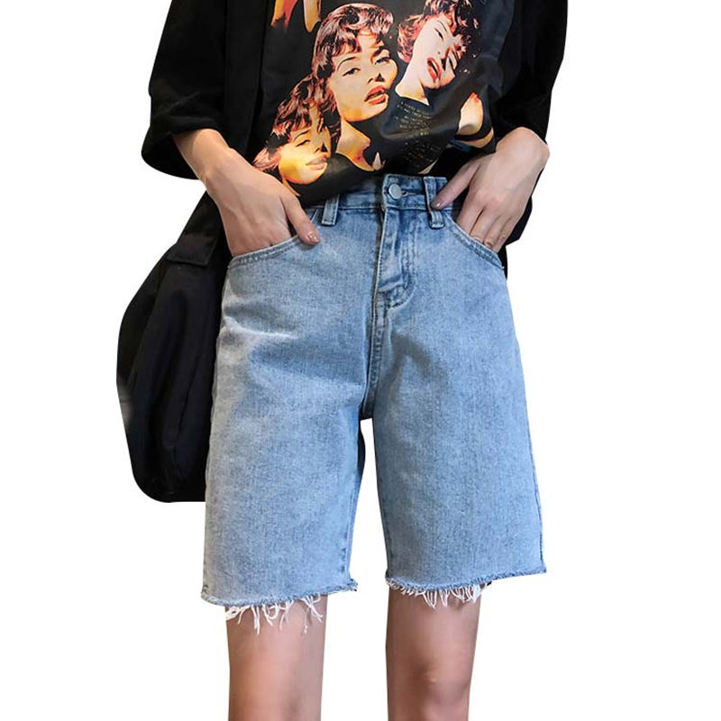Women Summer High Waist   Shorts   Loose Straight Denim   Shorts   Vaqueros Mujer   Short   Jeans Femme Streetwear Ladies Jeans Capris C5396