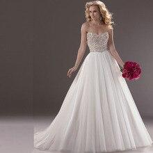 SexeMara 2018 A Line Sweetheart Beaded Bodice Tulle dresses