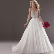 2015 A Line Wedding Dresses Sweetheart Beaded Bodice Tulle White Long Sweep Train Modest Bridal Gowns