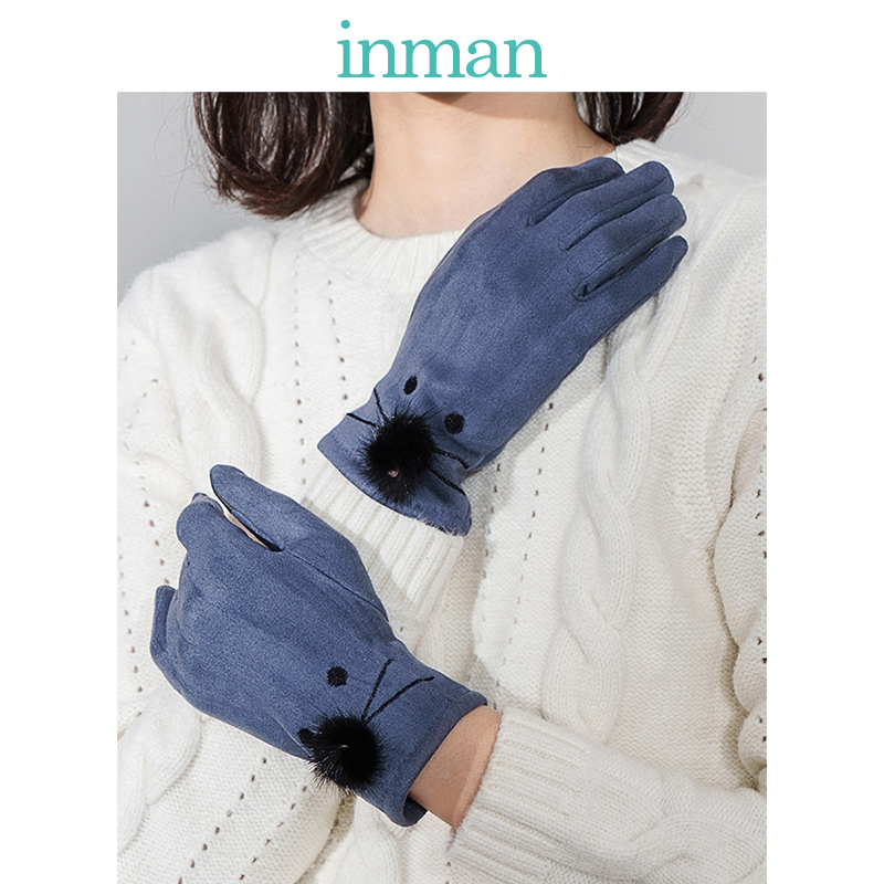 INMAN Spring Autumn And Winter Female Cute Student Thick Warm Ued For Driving Korean Seperated Finger Touchable Gloves