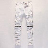 Cheville Zipper Hommes Jeans Slim Droites Affligé Trou Déchiré Jeans Hommes Noir Blanc Rouge Maigre Jogger Pantalon Mâle Pantalon Concepteur
