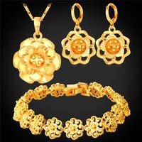 Gold Plated Big Flower Jewelry Set For Women Wedding Accessories Platinum Plated Trendy Wedding Jewelry Sets