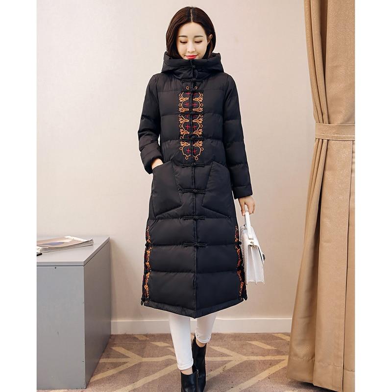 Odzież zimowa kobiety kurtka płaszcz haft ciepłe kurtki wysokiej jakości z kapturem płaszcze chiński styl kz300 w Parki od Odzież damska na  Grupa 2