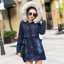 Winter Thicken cotton denim coat Ladies Korean style Fleece windbreaker New Hooded Padded Jean jacket 101607