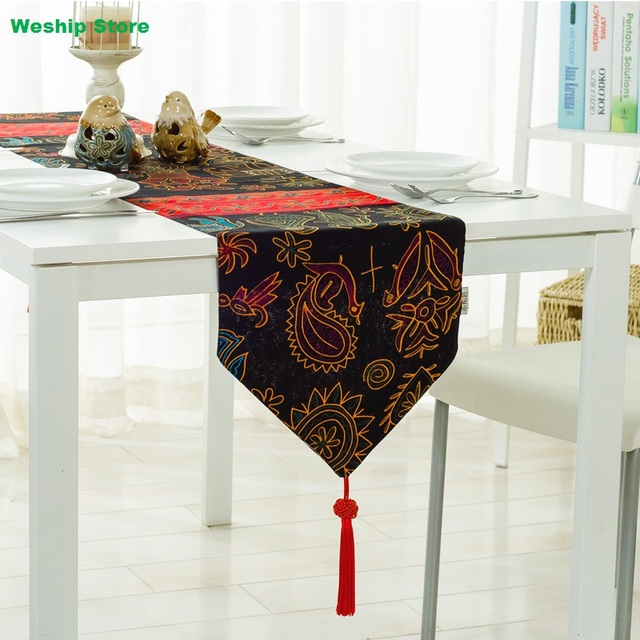 Charmant Fashion Home Double Deck Cotton Table Runner Sunflower Peacock Southeast  Asian Nation Wind Vintage Style