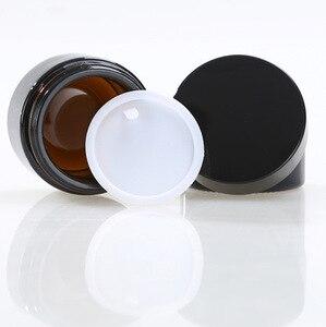 Image 3 - 5グラム10グラム15グラム20グラム30グラム50グラムアンバーガラス顔クリームジャー化粧品サンプルパッキング容器詰め替えポット黒蓋旅行