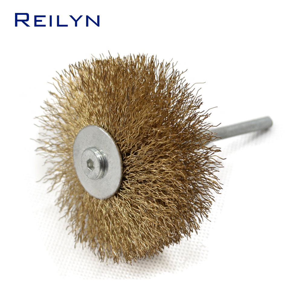 Copper Fiber Brush Woodworking Polishing Metal Wire Mop Wheel Polishing Roller Shank 6mm For Electric Hand Drill Rotary Tool