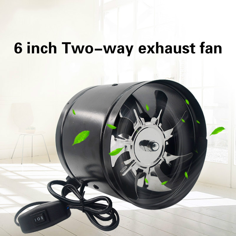 6 Inch Duct Booster Vent Fan Metal Inline Ducting Fan Exhaust Ventilation Duct Fan For Window Bathroom Toilet Kitchen 150-165mm