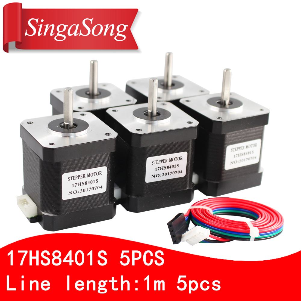 Free shipping 5PCS 4 lead Nema17 Stepper Motor 42 motor 17HS8401S 1 8A CE ROSH ISO