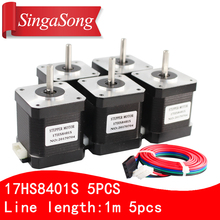 Free shipping 5PCS 4-lead Nema17 Stepper Motor 42 motor 17HS8401S 1.8A CE ROSH ISO CNC Laser and 3D printer with DuPont line