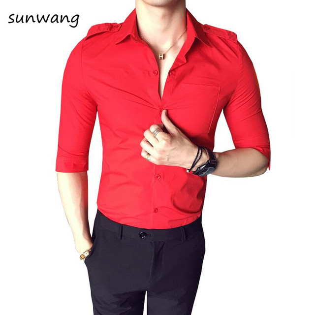 Brand New Mens Formal Business Shirts Men S Red Casual Solid Slim Fit Half Sleeve Dress