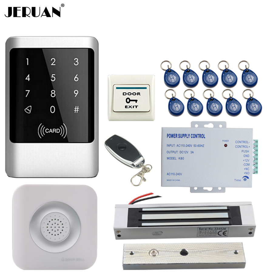 JERUAN RFID Password Access Controller Touch key Waterproof Door control system kit +Remote control + Exit Button +Doorbell jeruan metal waterproof rfid password touch access controller system kit speaker doorbell remote control in stock free shipping