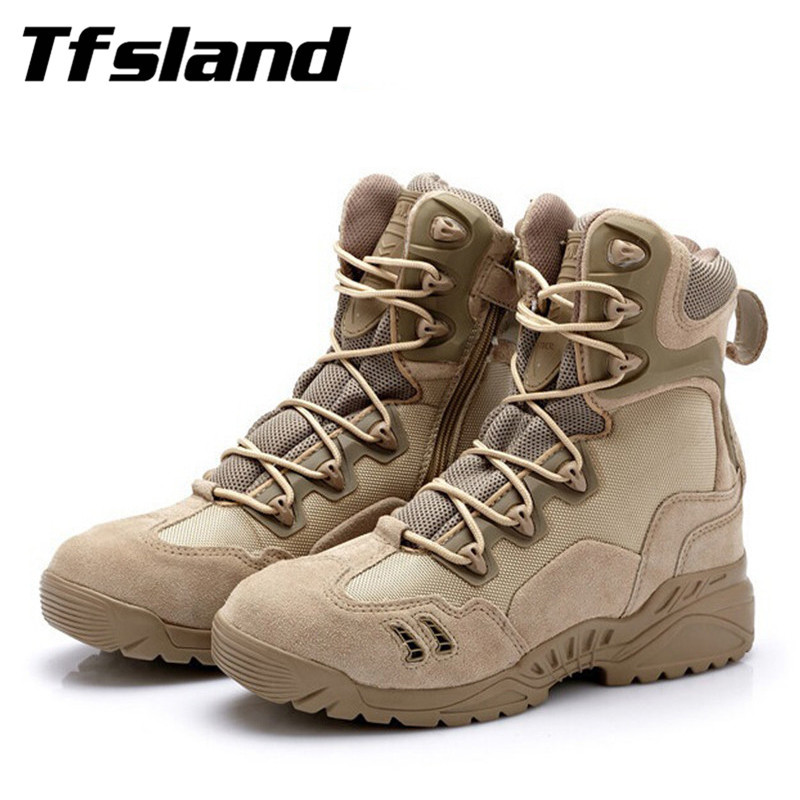 Tfsland Winter Men Military Tactical Combat Boots Male Sports Outdoor Army Desert Snow Boots Hiking Shoes New Leather Sneakers outdoor tactical boots army combat military boots snow training boots men s hunting sports hiking boots desert camouflage shoes
